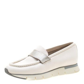 Santoni Metallic Silver And White Leather Platform Sneakers Size 39.5