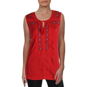 Chelsea & Theodore Womens Embroidered Tie-Neck Peasant Top