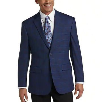 Pronto Uomo Platinum Men's Modern Fit Sport Coat Navy Plaid - Size: 42 Short - Only Available at Men's Wearhouse