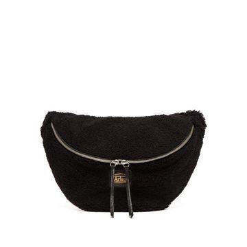 Aries - Elis Logo Sheepskin Belt Bag - Womens - Black