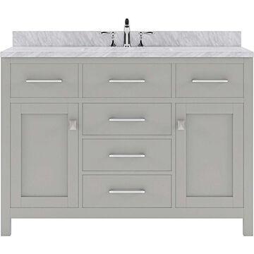 Virtu USA Caroline 48-in Cashmere Gray Undermount Single Sink Bathroom Vanity with Italian Carrara White Marble Top