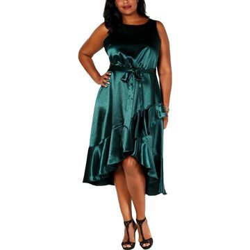 Taylor Womens Plus Formal Dress Ruffled Asymmetrical