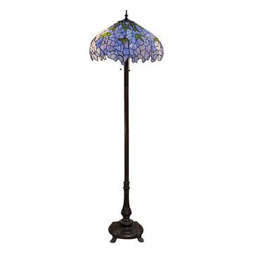 Warehouse of Tiffany Indoor Floor Lamps Bronze - Indigo Tiffany Floor Lamp