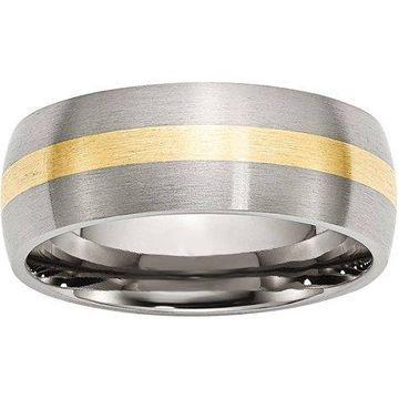 Primal Steel Stainless Steel 14 Karat Yellow Gold Inlay 8mm Brushed Band