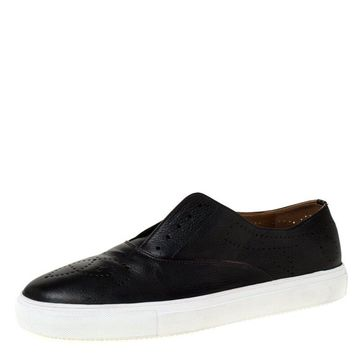Fratelli Rossetti Black Leather Brogue Laceless Slip On Sneakers Size 43.5
