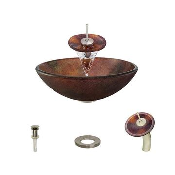 MR Direct Red, Yellow, Gold Tempered Glass Vessel Round Bathroom Sink with Faucet (Drain Included)
