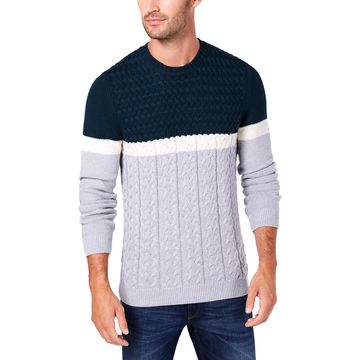Tasso Elba Mens Cable Knit Colorblock Sweater
