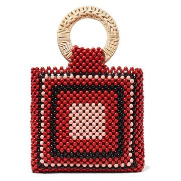 Ulla Johnson - Keya Mini Beaded Tote - Red