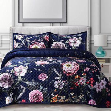 Tribeca Living Zara Oversized Velvet 2-Piece Twin Quilt Set Multi