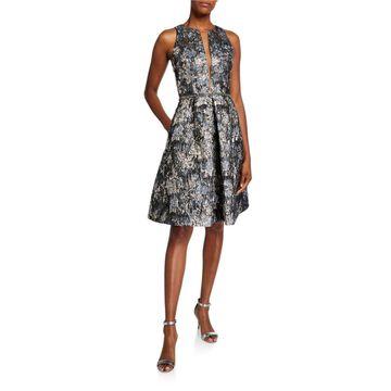 Sleeveless Deep V-Neck Illusion Brocade Dress