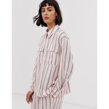 ASOS WHITE pink vertical stripe shirt