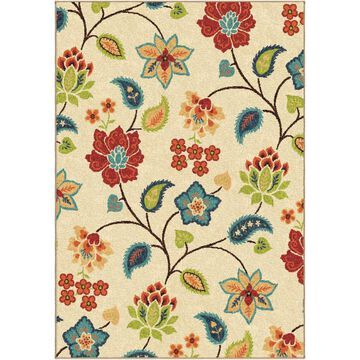Orian Rugs Garden Chintz 8 x 11 Ivory Indoor or Outdoor Floral/Botanical Area Rug in Brown   345834
