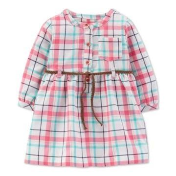 Carter's Baby Girls Belted Plaid Twill Dress