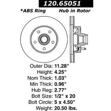StopTech 126.65051SR StopTech Sport Rotors; Front Right; 11.29 in. Dia.; 4.25 in. Height;