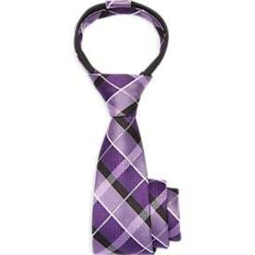 Joseph & Feiss Boys Purple Plaid Zipper Tie