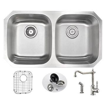 ANZZI Moore Undermount 32 In. Double Bowl Kitchen Sink w/ Locke Faucet