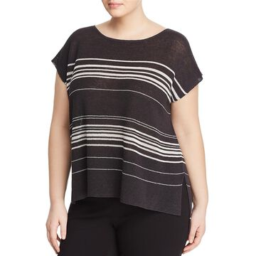 Eileen Fisher Womens Knit Striped Poncho Sweater