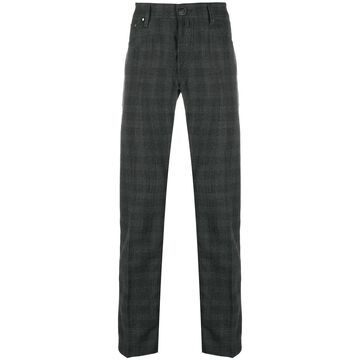 checkered straight-leg trousers