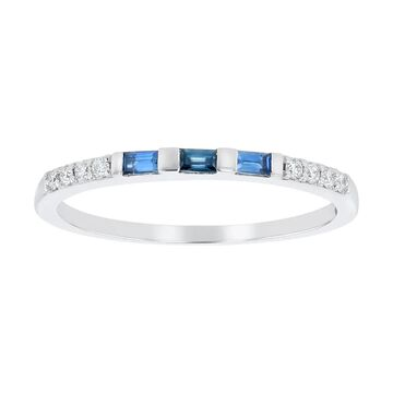 14K White Gold 1/4ct. TW Blue Sapphires and Diamonds Anniversary Band Ring by Beverly Hills Charm (6)