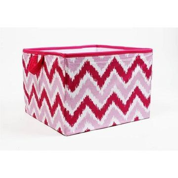 Bacati - MixNMatch Pink Zigzag Cotton Percale Fabric covered Storage, Large Box, 14 x 14 x 10 inches