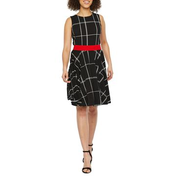 Danny & Nicole Sleeveless Grid Fit & Flare Dress