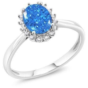 10K White Gold Diamond Engagement Ring Made With Fancy Blue Swarovski Zirconia