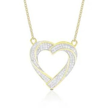 Finesque Sterling Silver 1/2ct TDW Diamond Heart Pendant Necklace (Gold Plate - Yellow)