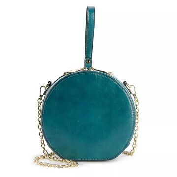 AmeriLeather Marcie Round Leather Shoulder Bag, Turquoise/Blue