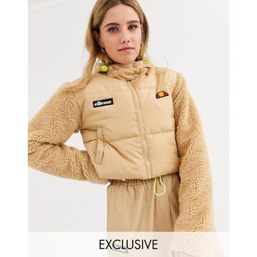 Ellesse cropped padded jacket with sherpa sleeves-Beige