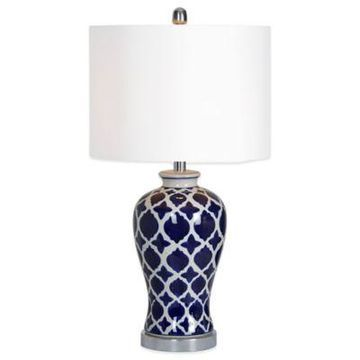 Ren-Wil Indigo Table Lamp with Cotton Shade in White/Blue