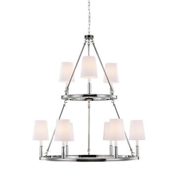 Feiss Lismore 9-Light Polished Nickel Transitional Chandelier