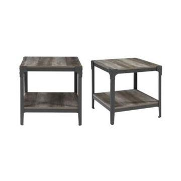 Walker Edison Angle Iron Rustic Wood End Table, Set of 2