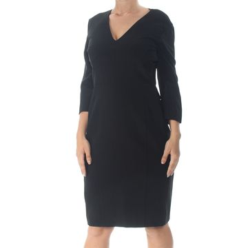 NARCISO RODRIGUEZ Womens Black Long Sleeve V Neck Shift Dress Size: 18