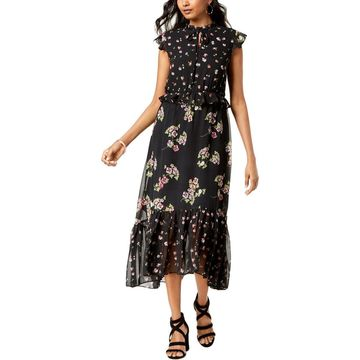 Taylor Womens Maxi Dress Floral Ruffled