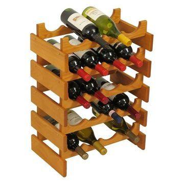 Wooden Mallet 20 Bottle Dakota Wine Rack Medium Oak