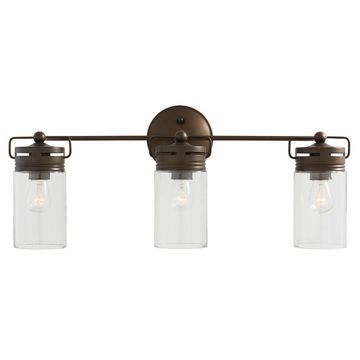 allen + roth Vallymede 3-Light 24.02-in Aged Bronze Cylinder Vanity Light