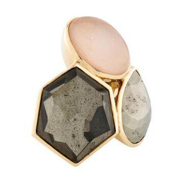 18K Pyrite, Quartz & Sunstone Rock Candy Cocktail Ring yellow