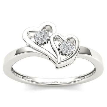De Couer IGI Certified 10k White Gold Diamond Accent Double Heart Ring