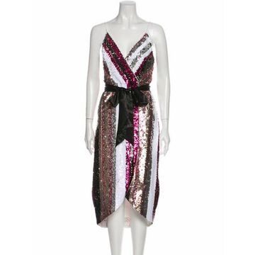 Printed Midi Length Dress w/ Tags Metallic