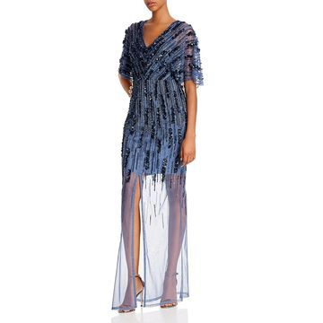 Aidan Mattox Womens Evening Dress Beaded Illusion