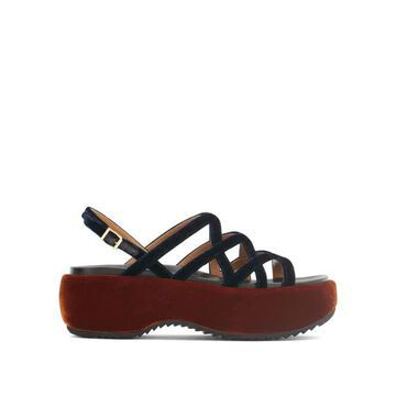 Marni - Velvet And Leather Flatform Sandals - Womens - Navy Multi
