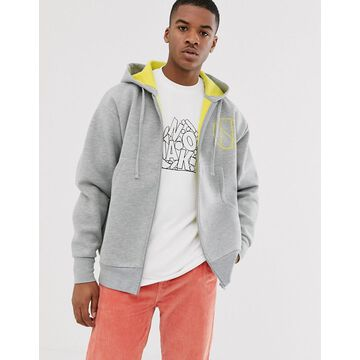 Noak zip up hoodie in gray with draw cords