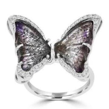 La Vita Vital Sterling Silver Natural Quartz and 1/5ct TDW Diamond Butterfly Ring