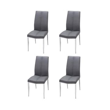 Chintaly Curved-Back Side Chair with Texture Upholstery, Set of 4