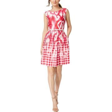 Ellen Tracy Womens Petites Belted Printed Shirtdress