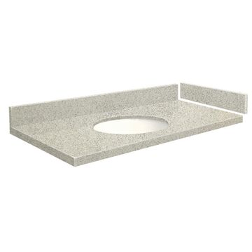 Transolid 58-in Portage Pass Quartz Single Sink Bathroom Vanity Top in Gray | VT58.5X22-1OU-4S-4