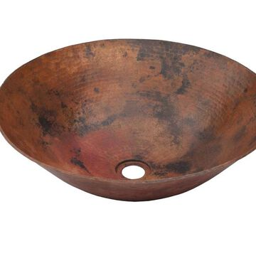 Novatto Catalonia Copper Vessel Round Bathroom Sink (Drain Included) (18-in x 18-in) in Brown   TCV-002NAORB