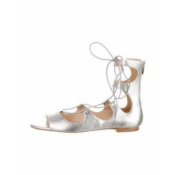 Leather Gladiator Sandals Silver