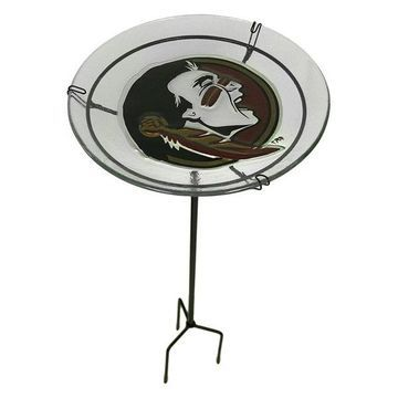 NCAA Florida State University Seminoles Glass Birdbath Garden Stake