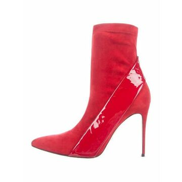 Suede Sock Boots Red